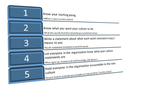 The steps to developing culture in an organization